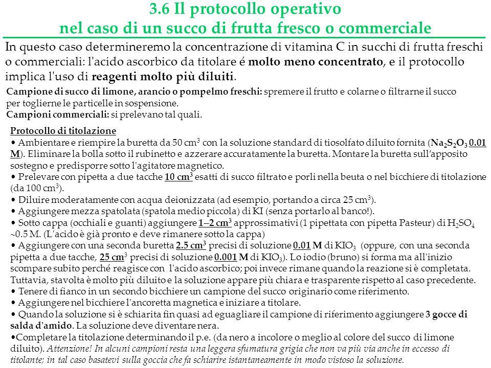 3.6 Il protocollo operativo nel caso di un succo di frutta fresco o commerciale In questo caso determineremo la concentrazione di vitamina C in succhi
