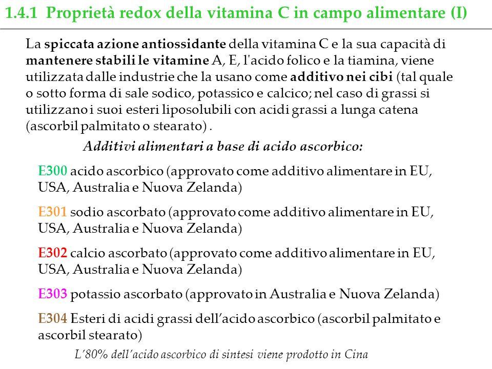 1.4.1 Proprietà redox della vitamina C in campo alimentare (I) La spiccata azione antiossidante della vitamina C e la sua capacità di mantenere stabil