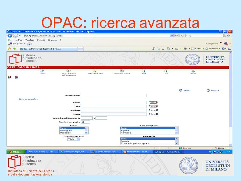 OPAC: ricerca avanzata
