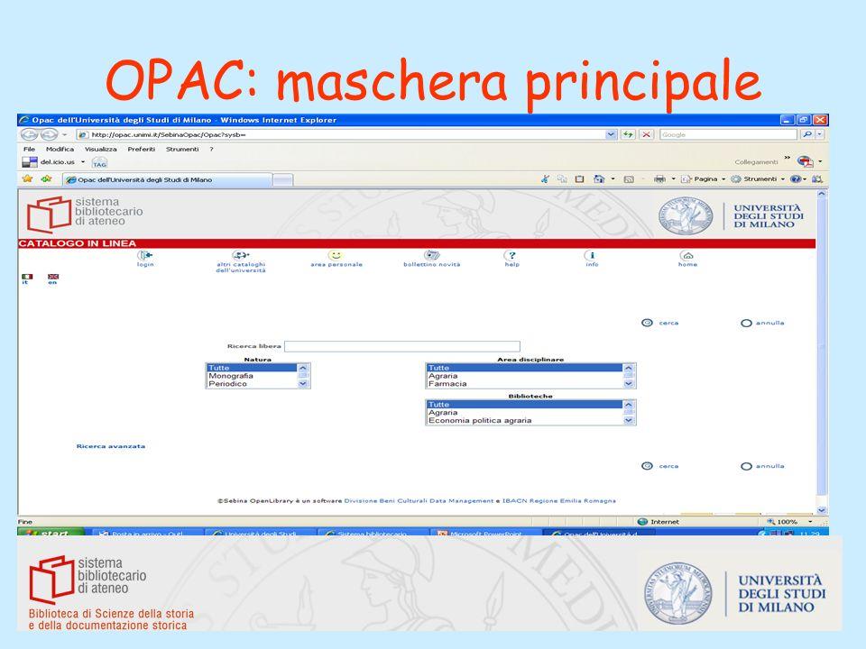OPAC: maschera principale