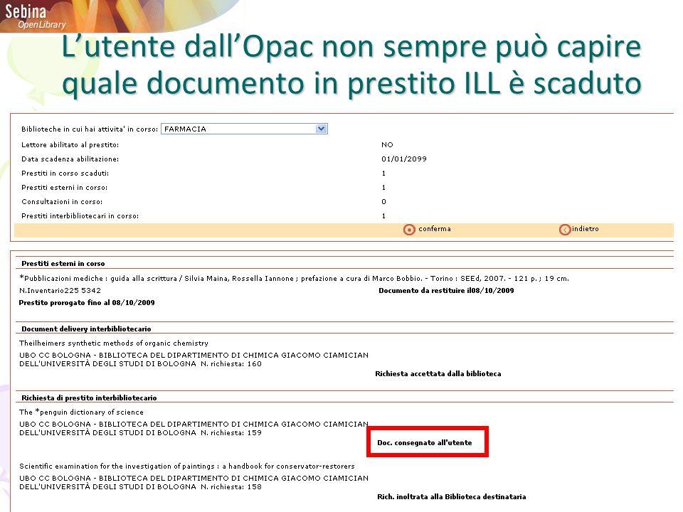Lutente dallOpac non sempre può capire quale documento in prestito ILL è scaduto
