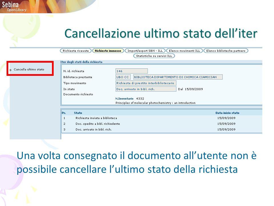 Cancellazione ultimo stato delliter Una volta consegnato il documento allutente non è possibile cancellare lultimo stato della richiesta