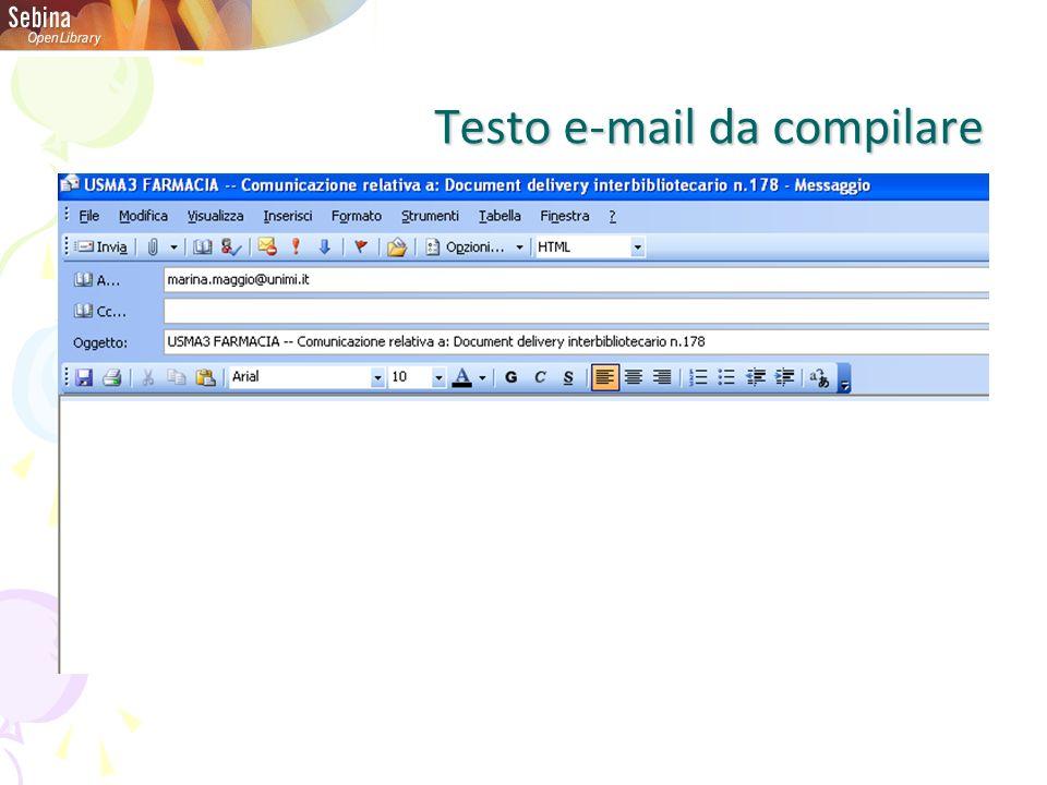 Testo e-mail da compilare