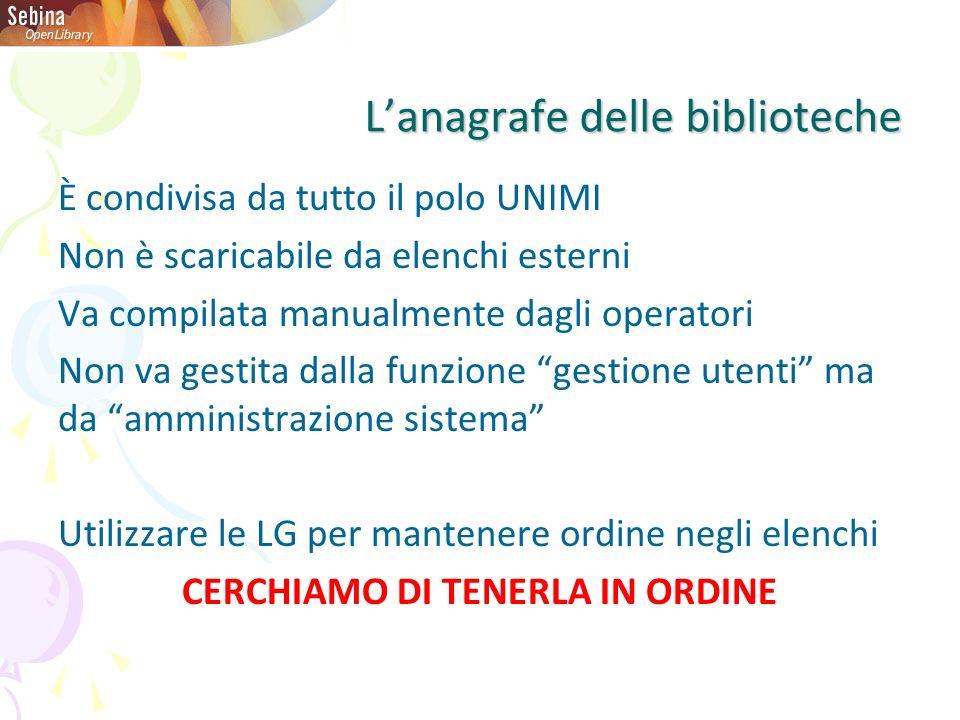 Lanagrafe delle biblioteche È condivisa da tutto il polo UNIMI Non è scaricabile da elenchi esterni Va compilata manualmente dagli operatori Non va ge