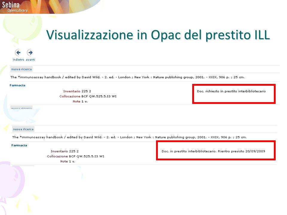 Visualizzazione in Opac del prestito ILL