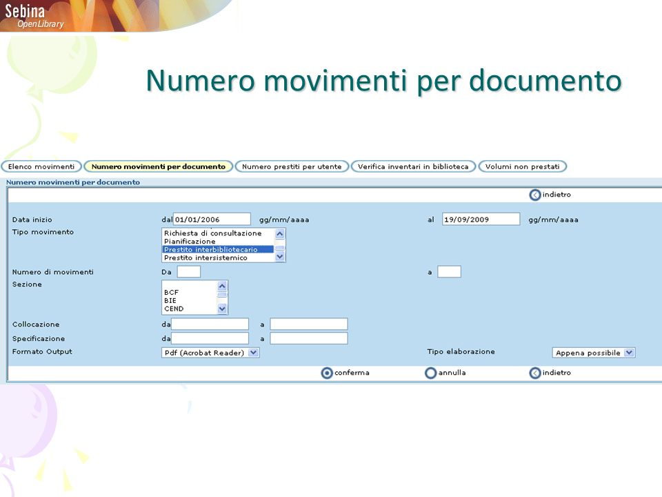 Numero movimenti per documento