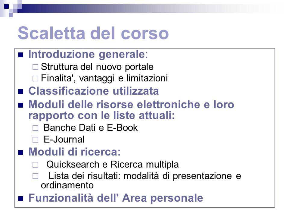 Limiti della metaricerca (2) Numero limitato (20) di risorse su cui cercare simultaneamente Soliti problemi delle risorse elettroniche: licenze n° utenze simultanee problemi tecnici Non tutte le risorse in abbonamento e gratuite, soprattutto italiane, sono ricercabili simultaneamente tramite MetaLib.