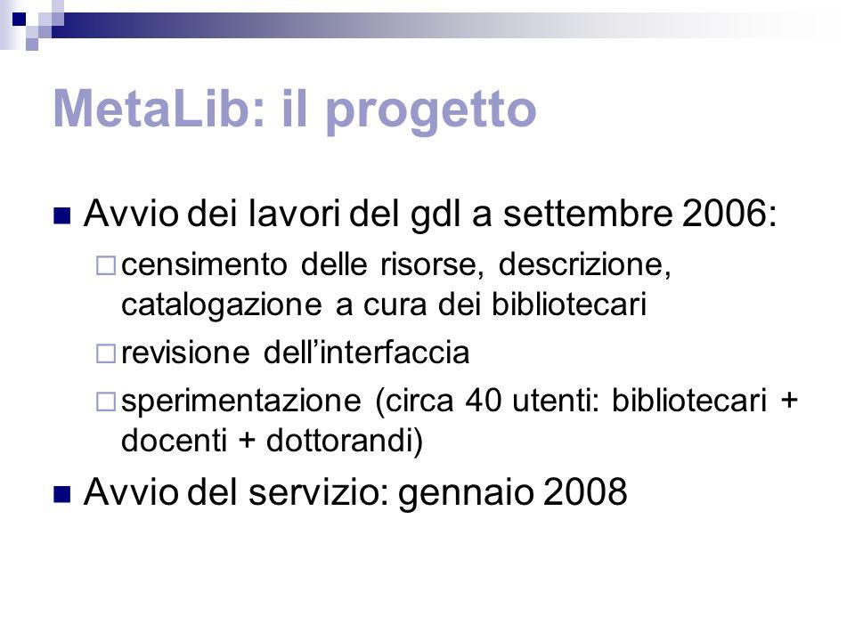 MetaLib: il progetto Avvio dei lavori del gdl a settembre 2006: censimento delle risorse, descrizione, catalogazione a cura dei bibliotecari revisione
