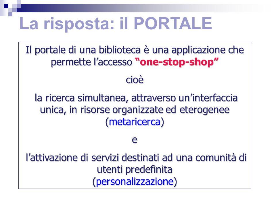 La risposta: il PORTALE Il portale di una biblioteca è una applicazione che permette laccesso one-stop-shop cioè la ricerca simultanea, attraverso uninterfaccia unica, in risorse organizzate ed eterogenee (metaricerca) la ricerca simultanea, attraverso uninterfaccia unica, in risorse organizzate ed eterogenee (metaricerca)e lattivazione di servizi destinati ad una comunità di utenti predefinita lattivazione di servizi destinati ad una comunità di utenti predefinita (personalizzazione)