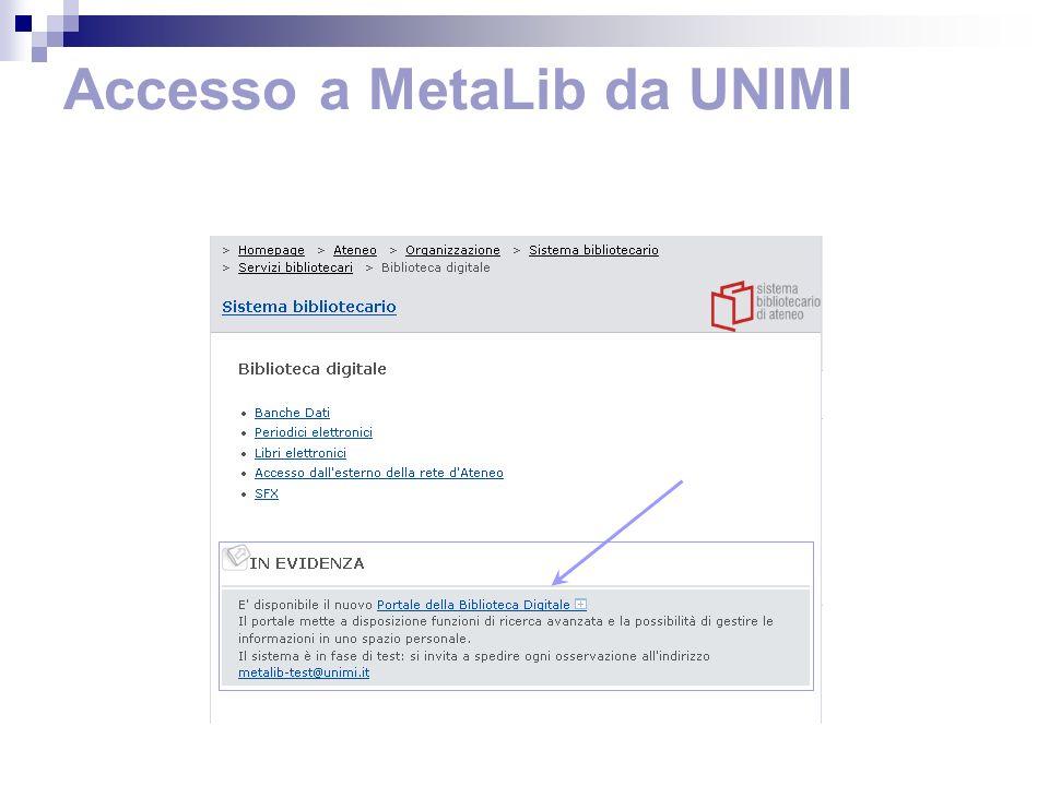 Home page e moduli di MetaLib Moduli di discovery delle risorse Moduli per la ricerca nelle risorse
