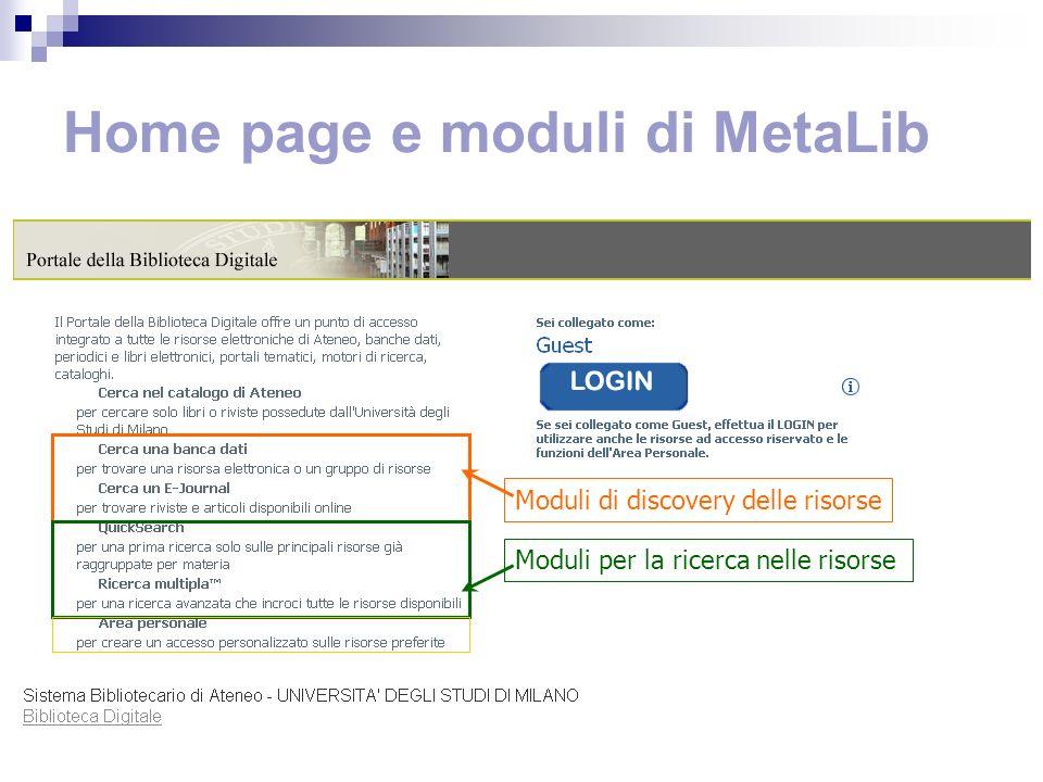 Quali sono le risorse di MetaLib.