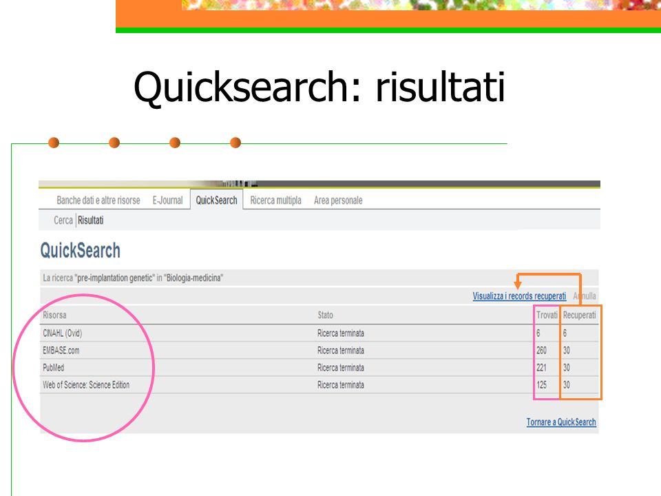 Quicksearch: risultati