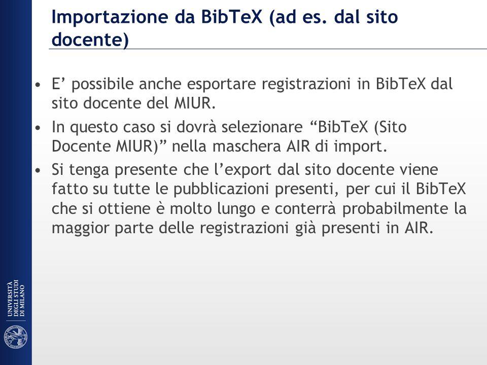 Importazione da BibTeX (ad es.