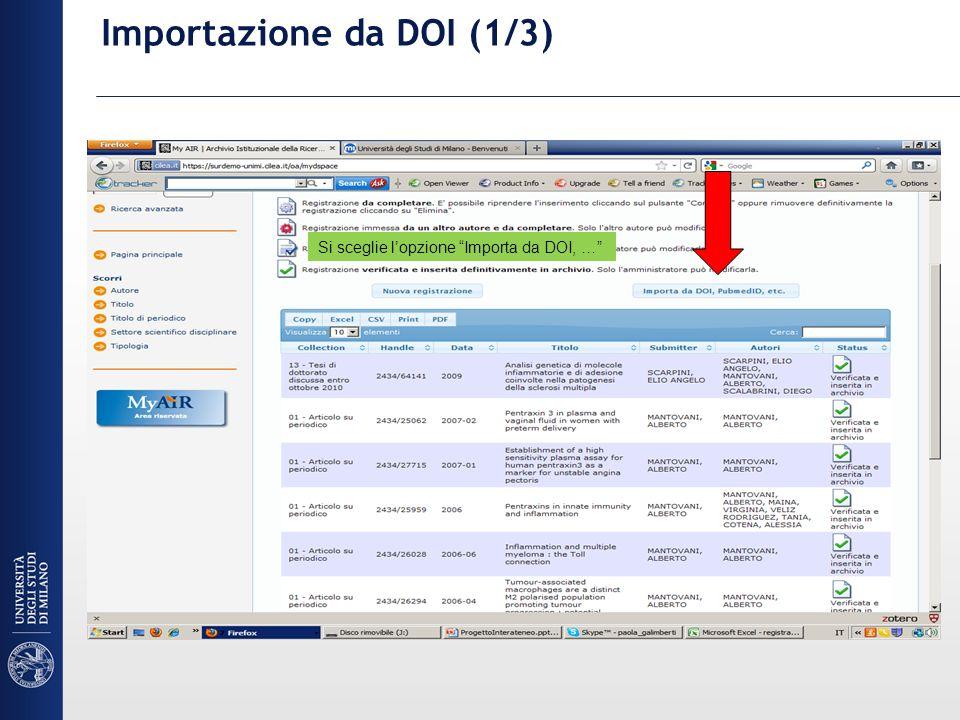 Importazione da DOI (1/3) Si sceglie lopzione Importa da DOI, …