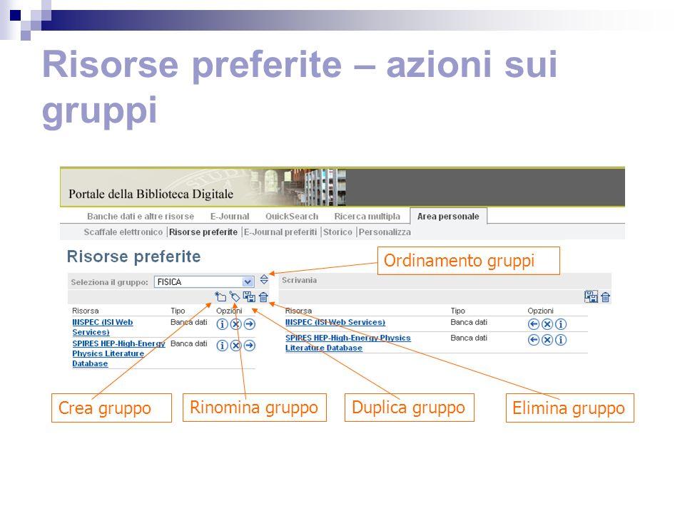 Risorse preferite – azioni sui gruppi Ordinamento gruppi Crea gruppo Rinomina gruppoDuplica gruppo Elimina gruppo