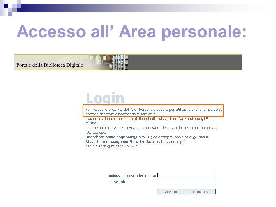Accesso all Area personale:
