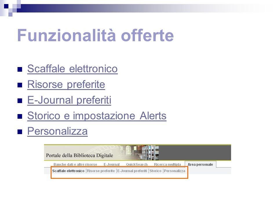 Funzionalità offerte Scaffale elettronico Risorse preferite E-Journal preferiti Storico e impostazione Alerts Personalizza