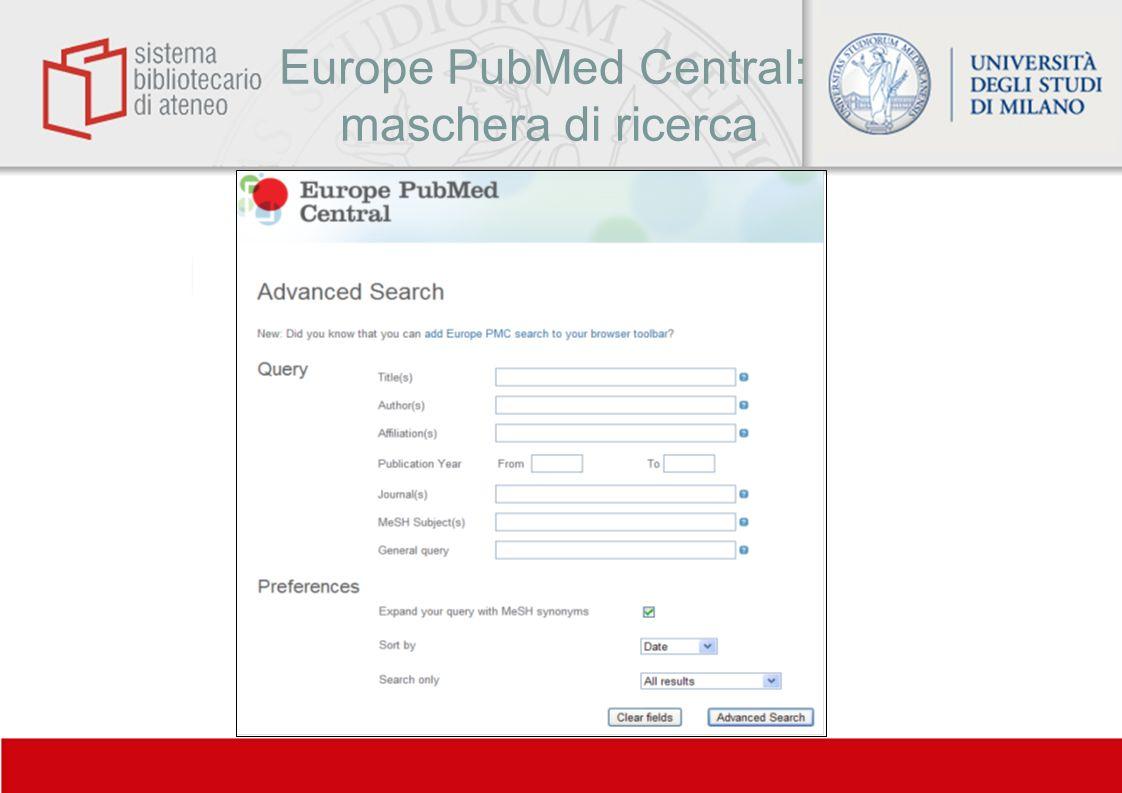 Europe PubMed Central: maschera di ricerca