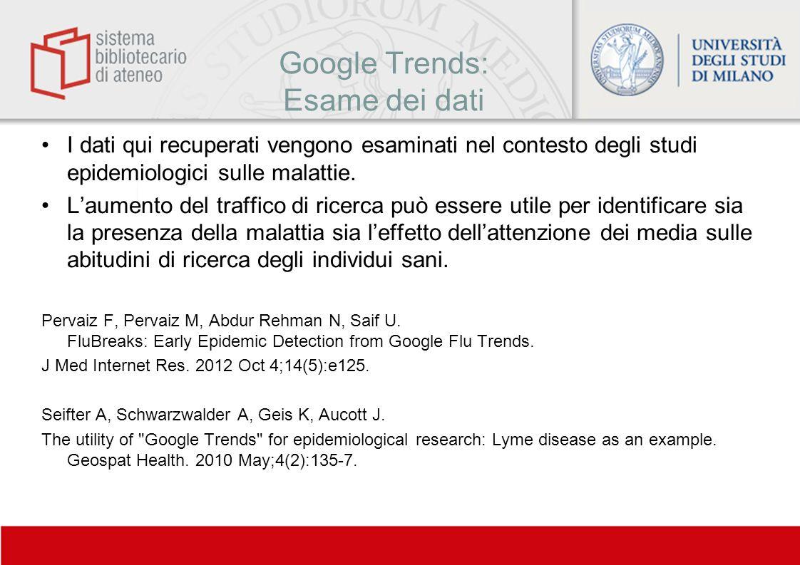 Google Trends: Esame dei dati I dati qui recuperati vengono esaminati nel contesto degli studi epidemiologici sulle malattie. Laumento del traffico di