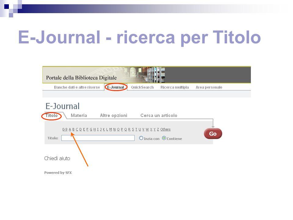 E-Journal - ricerca per Titolo