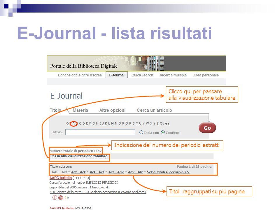 E-Journal - lista risultati Indicazione del numero dei periodici estratti Titoli raggruppati su più pagine Clicco qui per passare alla visualizzazione tabulare