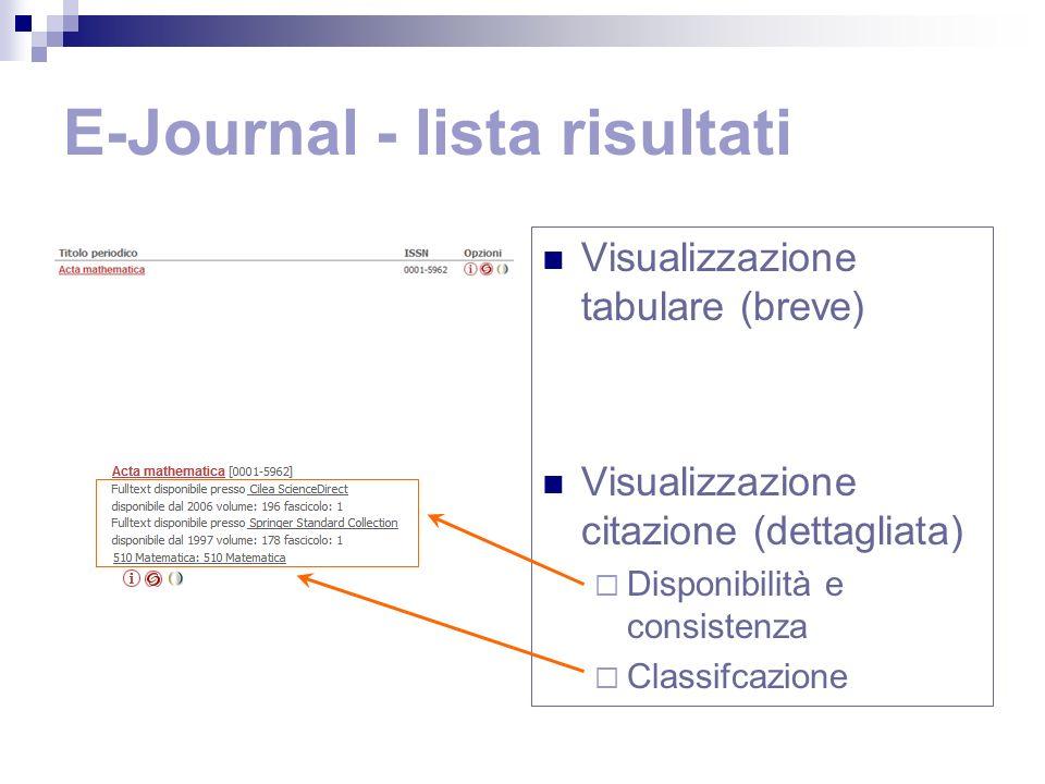 E-Journal - lista risultati Visualizzazione tabulare (breve) Visualizzazione citazione (dettagliata) Disponibilità e consistenza Classifcazione