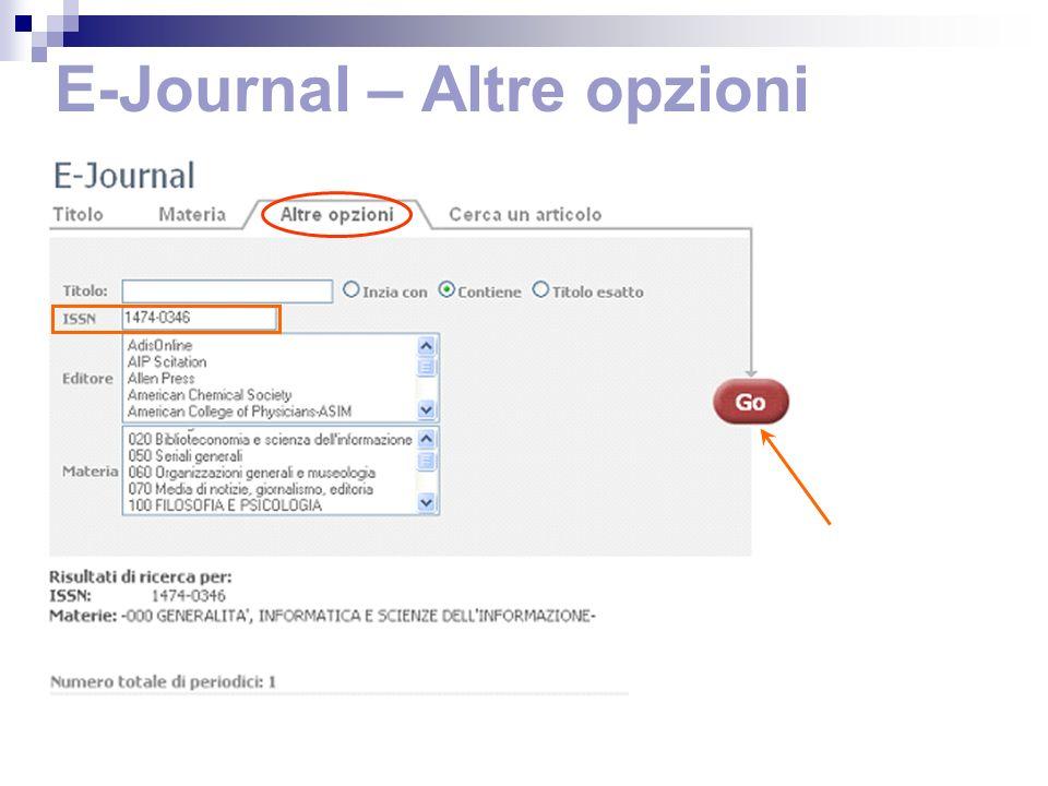 E-Journal – Altre opzioni