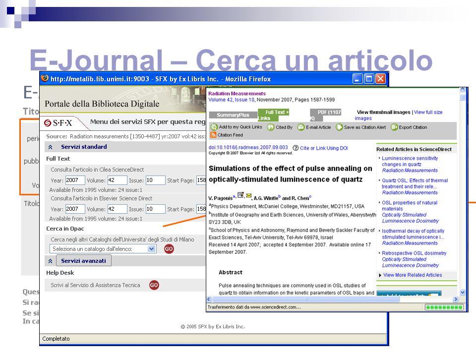 E-Journal – Cerca un articolo