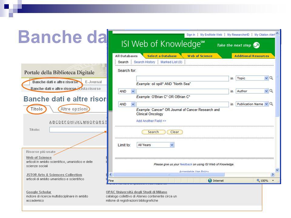 Banche dati e altre risorse Link diretti alle risorse più usate