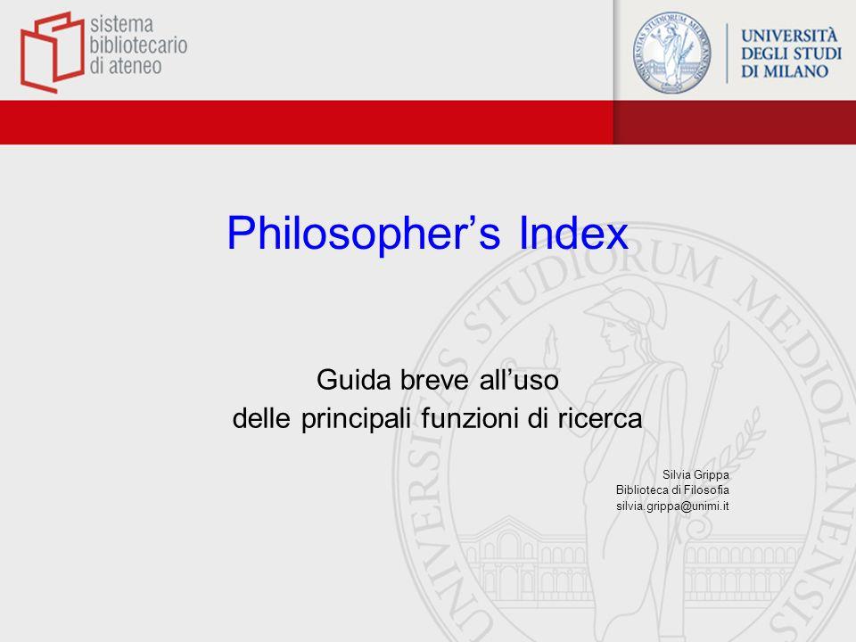 Contenuto Banca dati bibliografica che copre le ricerche accademiche in campo filosofico pubblicate in libri o riviste dal 1940 in avanti.