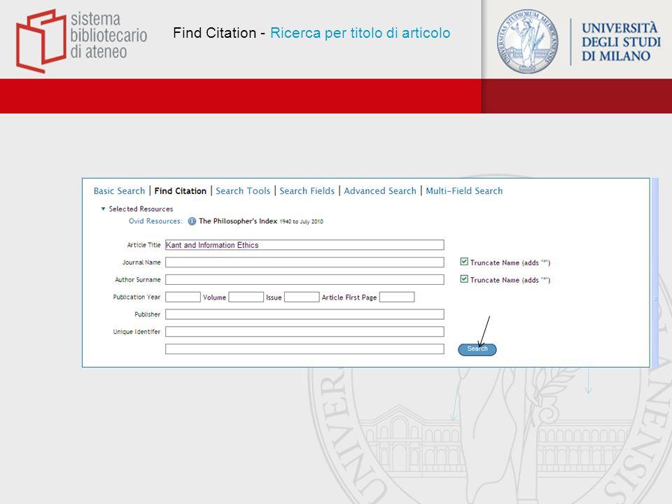 Find Citation - Risultato