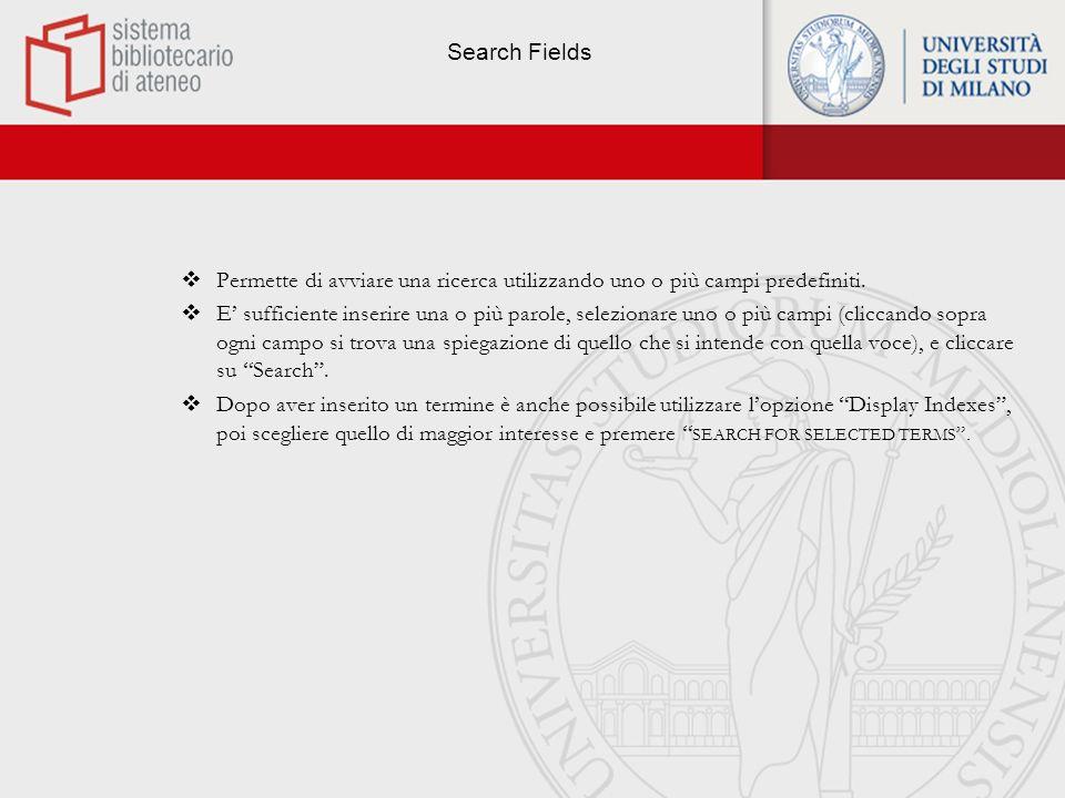 Search Fields - Schermata di ricerca