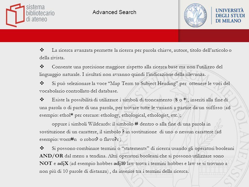 Advanced ovid search - Schermata di ricerca