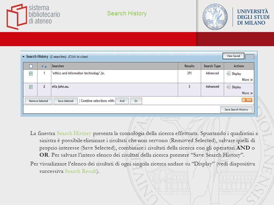 Search Results oPer visualizzare i risultati della ricerca, selezionare Display (Actions), in alto a destra.