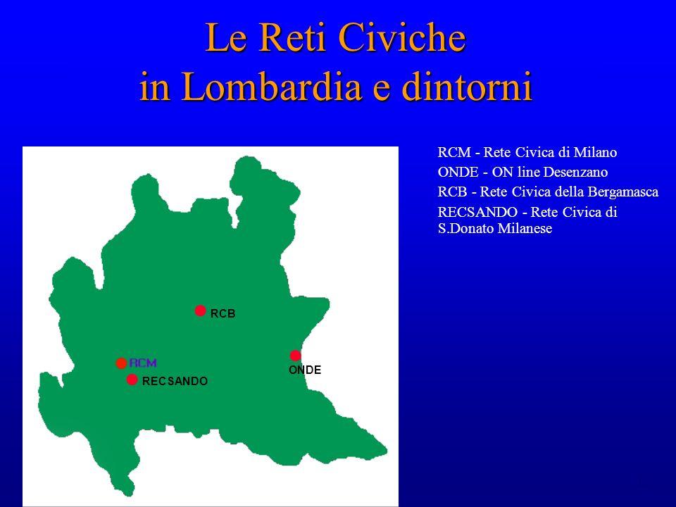 12 Le Reti Civiche in Lombardia e dintorni RCM - Rete Civica di Milano ONDE - ON line Desenzano RCB - Rete Civica della Bergamasca RECSANDO - Rete Civica di S.Donato Milanese ONDE RCB RECSANDO