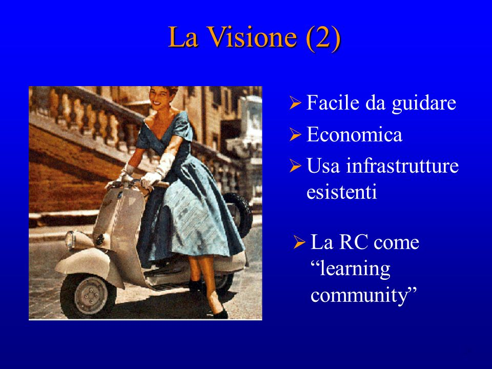 24 Facile da guidare Economica Usa infrastrutture esistenti La Visione (2) La RC come learning community
