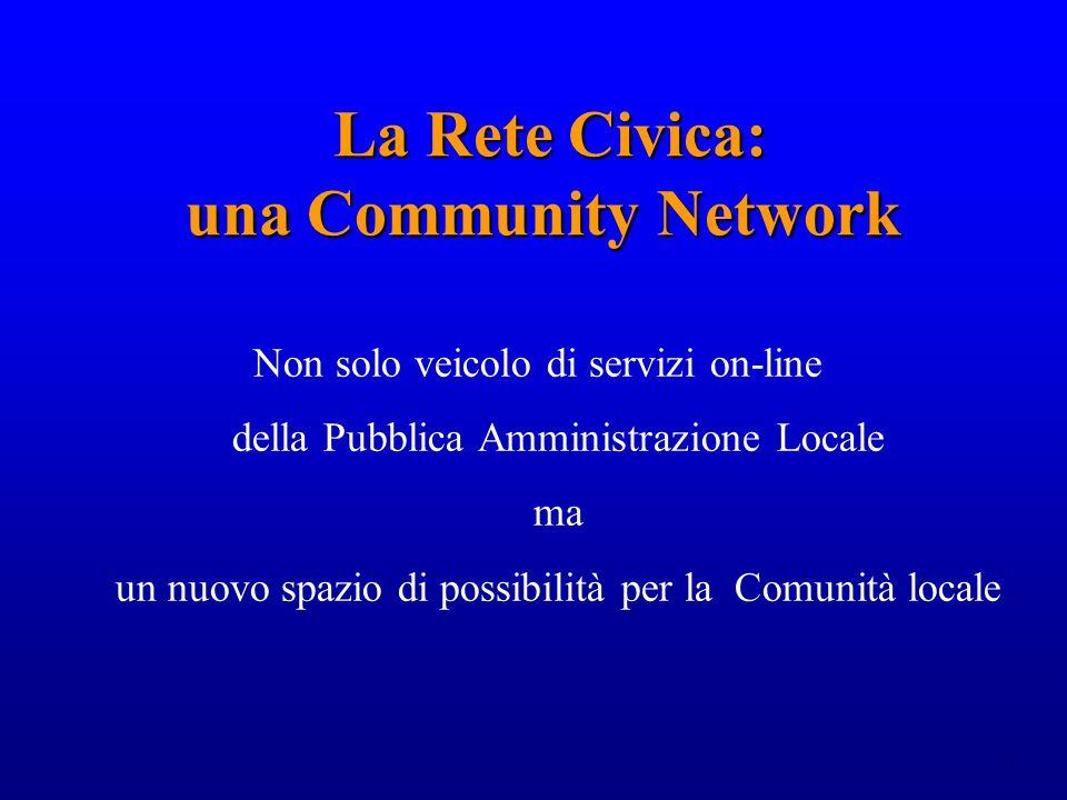 6 La Rete Civica: una Community Network La Rete Civica: una Community Network Non solo veicolo di servizi on-line della Pubblica Amministrazione Locale ma un nuovo spazio di possibilità per la Comunità locale