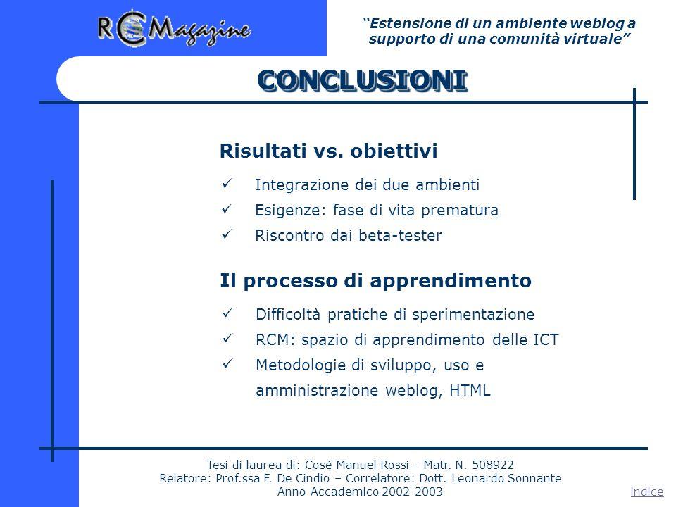 CONCLUSIONICONCLUSIONI Estensione di un ambiente weblog a supporto di una comunità virtuale Tesi di laurea di: Cosé Manuel Rossi - Matr.