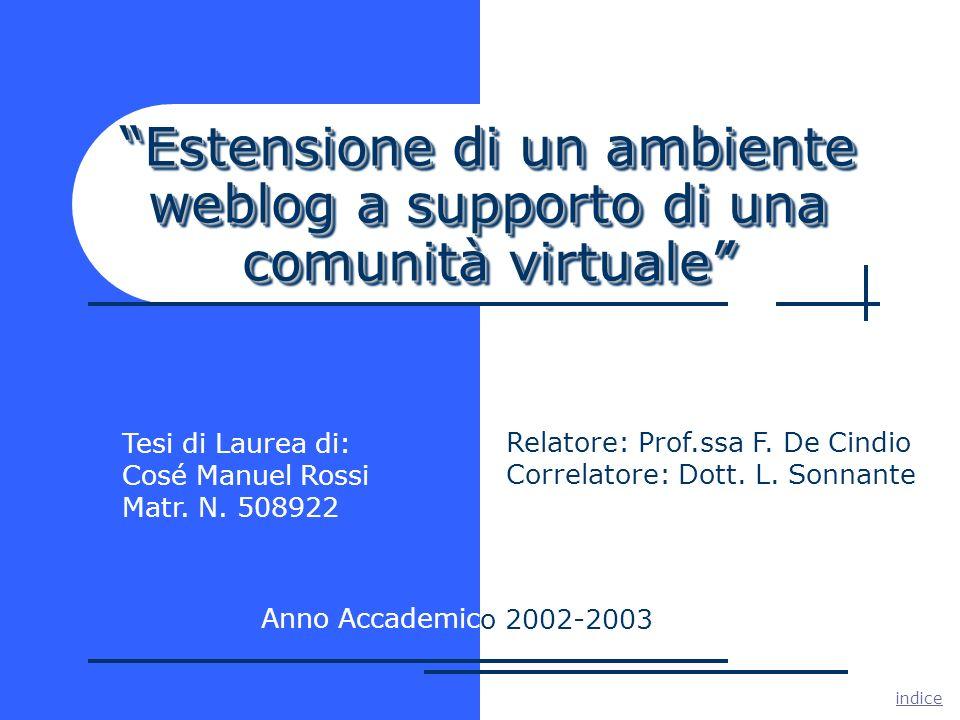 Estensione di un ambiente weblog a supporto di una comunità virtuale Tesi di Laurea di: Cosé Manuel Rossi Matr.