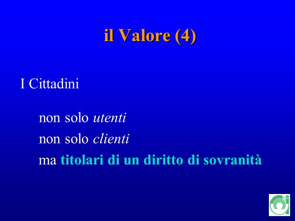 10 il Valore (4) I Cittadini non solo utenti non solo clienti ma titolari di un diritto di sovranità