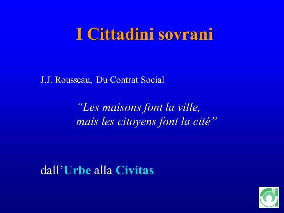 11 I Cittadini sovrani J.J. Rousseau, Du Contrat Social Les maisons font la ville, mais les citoyens font la cité dallUrbe alla Civitas