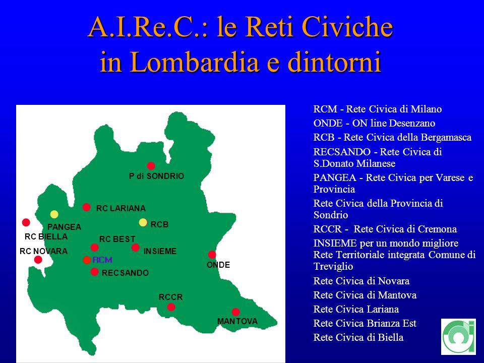 12 A.I.Re.C.: le Reti Civiche in Lombardia e dintorni RCM - Rete Civica di Milano ONDE - ON line Desenzano RCB - Rete Civica della Bergamasca RECSANDO