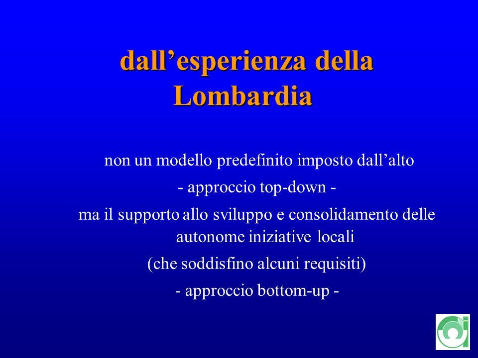 16 dallesperienza della Lombardia dallesperienza della Lombardia non un modello predefinito imposto dallalto - approccio top-down - ma il supporto all