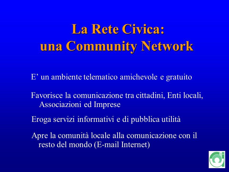 5 La Rete Civica: una Community Network La Rete Civica: una Community Network E un ambiente telematico amichevole e gratuito Favorisce la comunicazion