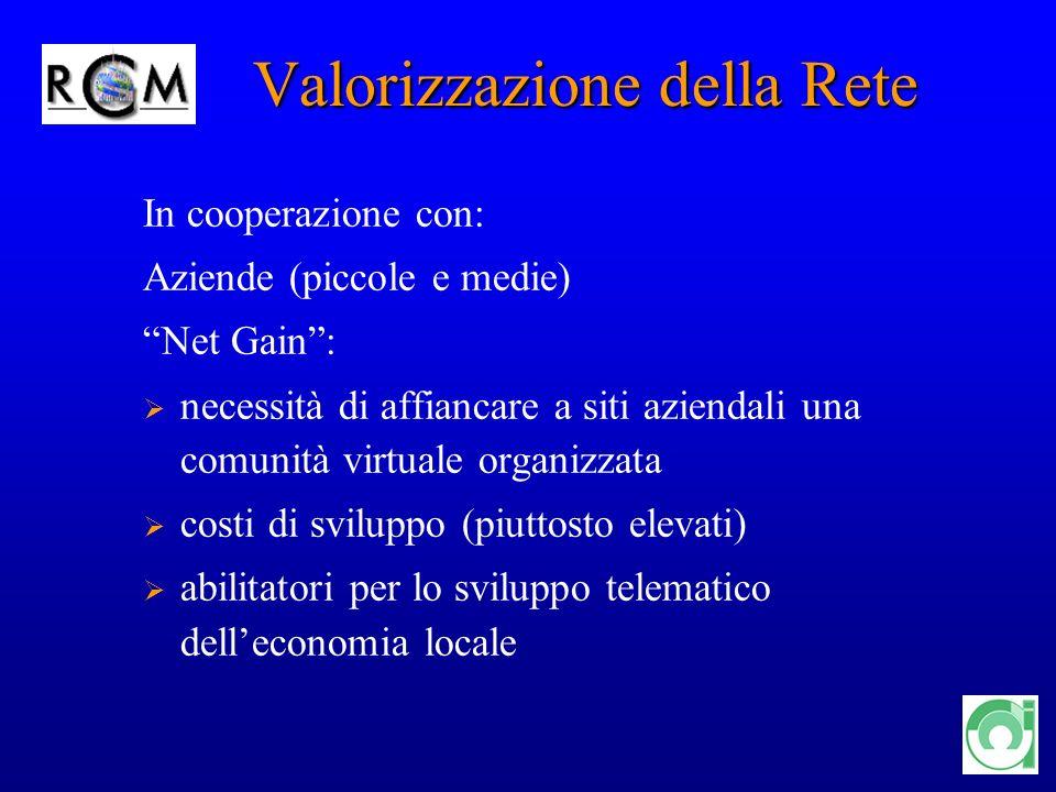 11 Valorizzazione della Rete Valorizzazione della Rete In cooperazione con: Aziende (piccole e medie) Net Gain: necessità di affiancare a siti azienda