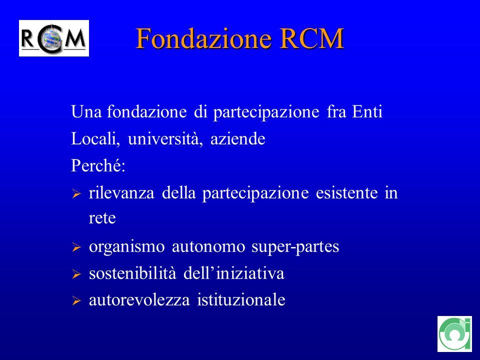 12 Fondazione RCM Una fondazione di partecipazione fra Enti Locali, università, aziende Perché: rilevanza della partecipazione esistente in rete organ