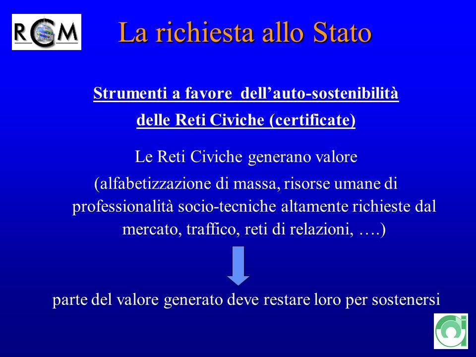 13 Strumenti a favore dellauto-sostenibilità delle Reti Civiche (certificate) Le Reti Civiche generano valore (alfabetizzazione di massa, risorse uman