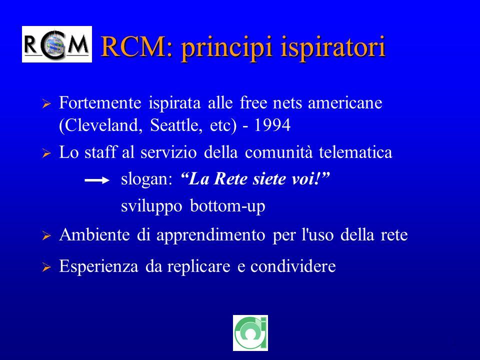 2 RCM: principi ispiratori Fortemente ispirata alle free nets americane (Cleveland, Seattle, etc) - 1994 Lo staff al servizio della comunità telematica slogan: La Rete siete voi.