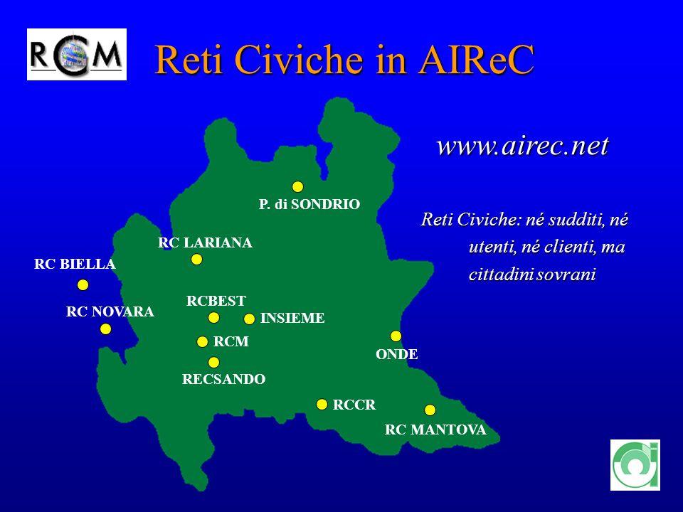 4 Reti Civiche in AIReC Reti Civiche:né sudditi, né utenti, né clienti, ma cittadini sovrani Reti Civiche:né sudditi, né utenti, né clienti, ma cittad