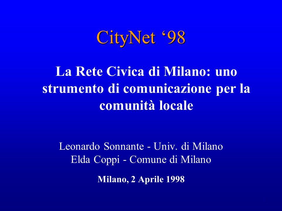 1 CityNet 98 La Rete Civica di Milano: uno strumento di comunicazione per la comunità locale Leonardo Sonnante - Univ. di Milano Elda Coppi - Comune d